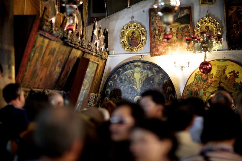 Bethlehem, Eingang zur Geburtsgrotte in der Kirche