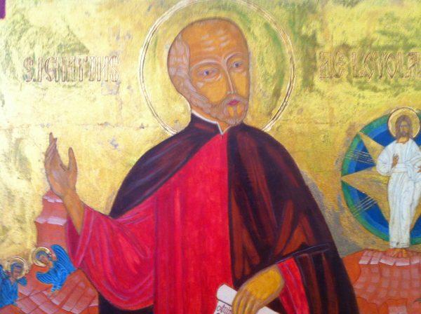 Ikonenartiges Bild, dargestellt der Gründer des Jesuitenordens, Ignatius von Loyola. Bild in der Jesuitenkommunität in Jerusalem