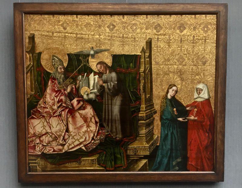 Weihnachten: Gott wird Mensch. Konrad Witz: Ratschluss der Erlösung, nach 1444 gemalt. Berlin, Gemäldegalerie